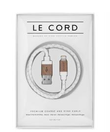 Le Cord Le Cord Charge & Sync Cable white leather/dark wood
