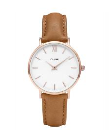 Cluse Cluse Watch Minuit brown caramel/white rose gold