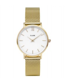 Cluse Cluse Watch Minuit Mesh gold/white mesh