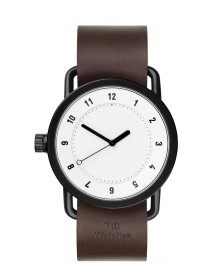 Tid Tid Watch No.1 brown walnut leather/white
