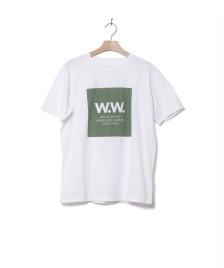 Wood Wood Wood Wood T-Shirt Square white bright green