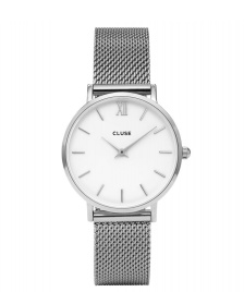 Cluse Cluse Watch Minuit Mesh silver/white mesh