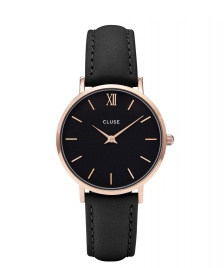 Cluse Cluse Watch Minuit black/black rose gold