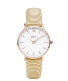 Cluse Cluse Watch Minuit white sunny yellow stripes/ white rose gold