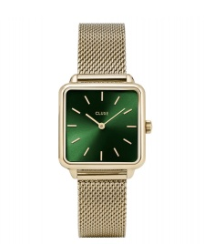 Cluse Cluse Watch La Tetragone Mesh gold/forest green gold