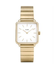 Cluse Cluse Watch La Tetragone 1-Link gold/white