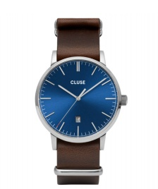 Cluse Cluse Watch Aravis Nato Leather brown dark/dark blue silver