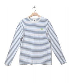 Wood Wood Wood Wood Longsleeve Mel white off/blue stripes