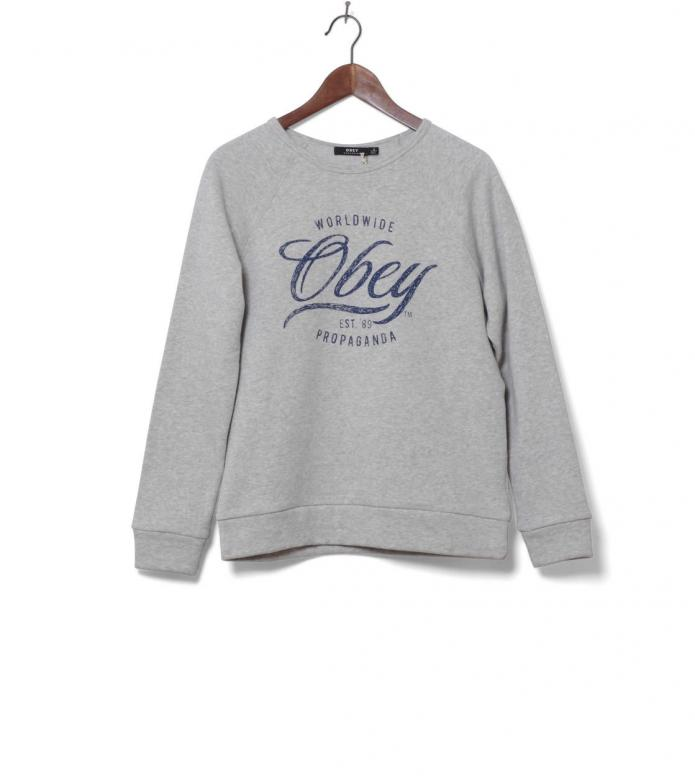 Obey W Pullover Note Script grey ash heather S