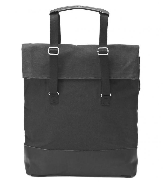 Qwstion Bag Day Tote black leather canvas 16L