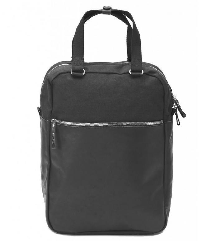 Qwstion Bag Simple Pack black leather canvas 15L