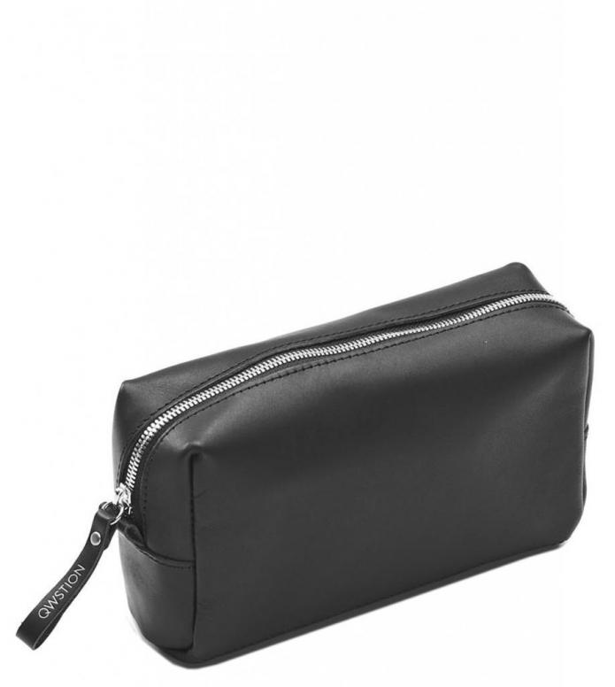 Qwstion Amenity Pouch black leather canvas 1.2L