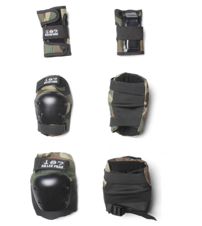 187 Killer Kids Protection Pads Pack black camo one size
