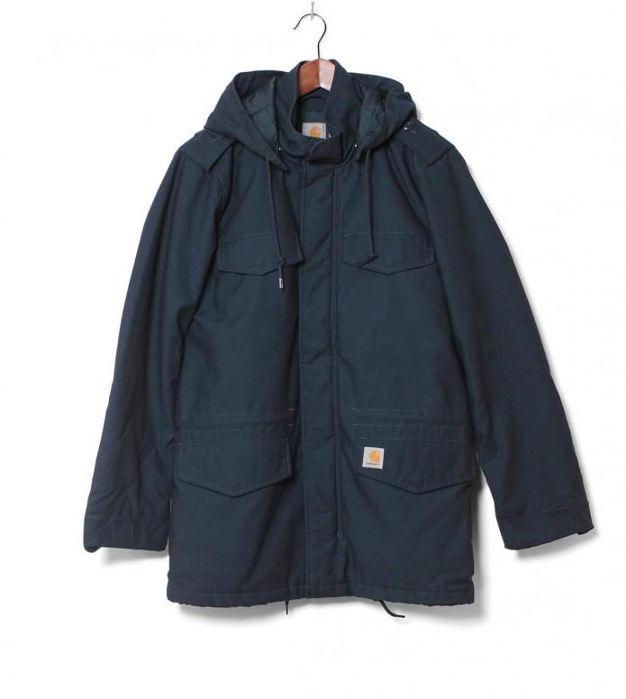 Carhartt WIP Winterjacket Hickman Coat blue dark petrol washed