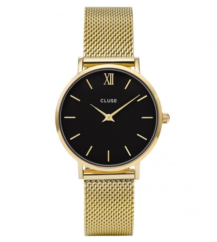 Cluse Cluse Watch Minuit Mesh gold/black mesh