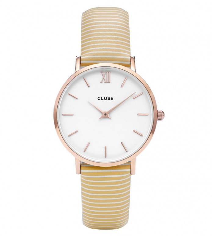 Cluse Cluse Watch Minuit white sunny yellow stripes/ white rosegold