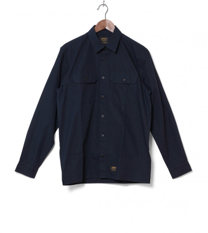 Carhartt WIP Shirt Mission blue navy stone washed
