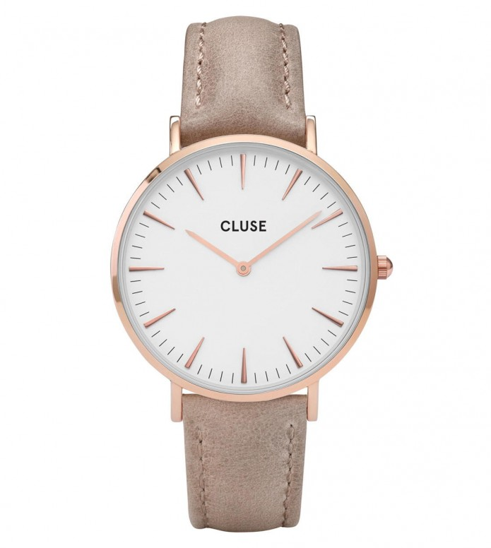 Cluse Cluse Watch La Boheme brown hazelnut/white rose gold