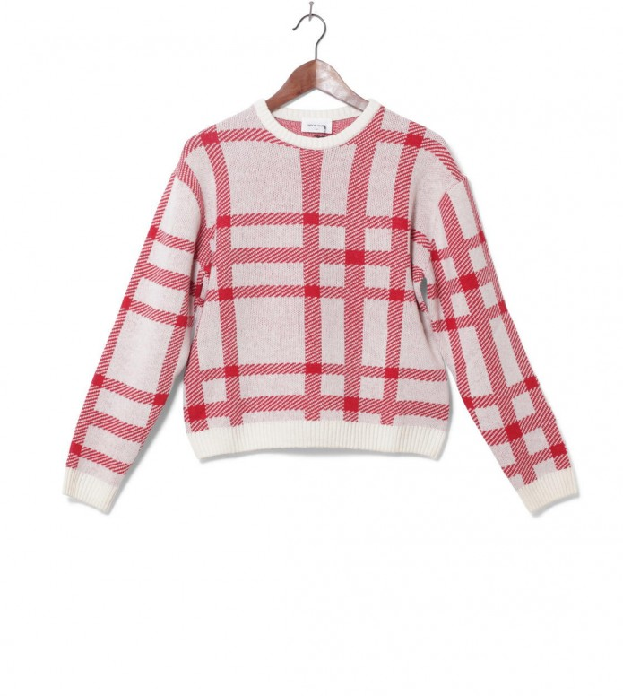 Wood Wood Wood Wood W Sweater Caitlin red/off-white check