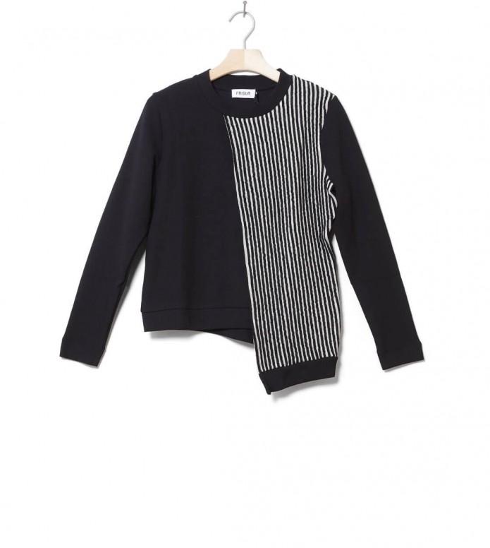 Frisur W Pullover Rea black/white striped XS