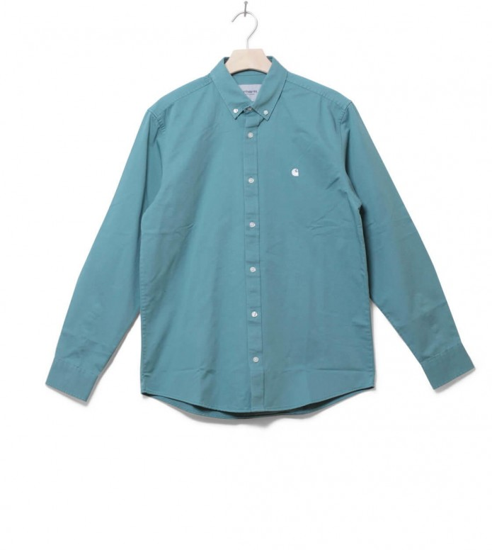 Carhartt WIP Shirt Madison green soft teal/white S