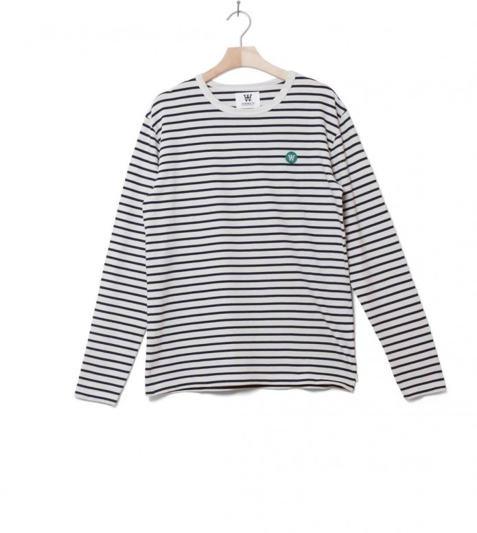 Wood Wood Longsleeve Mel white off/navy stripes M