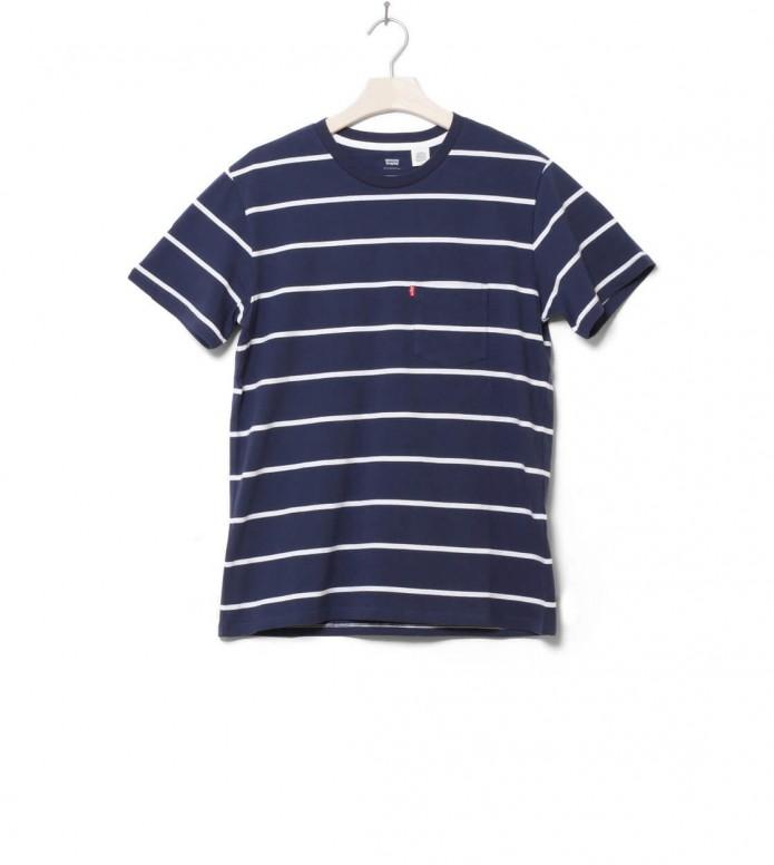 Levis T-Shirt Classic Pocket Brick Stripe blue navy L