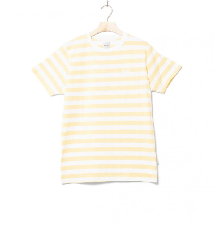 Wemoto T-Shirt Script Stripe yellow tender L
