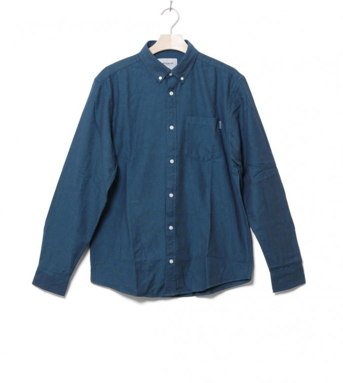 Carhartt WIP Shirt Dalton blue dark navy/pizol heavy rinsed M