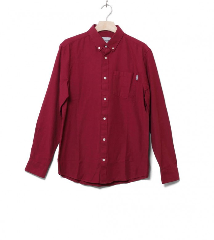 Carhartt WIP Shirt Dalton red cranberry/tango heavy rinsed M