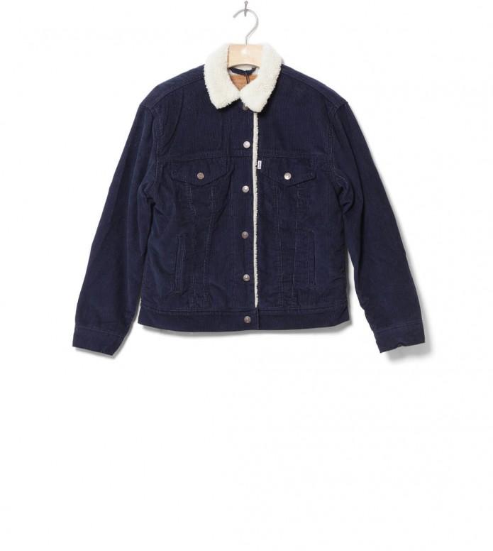 Levis W Jacket Sherpa Trucker Ex-Bf blue navy vintage blazer XS