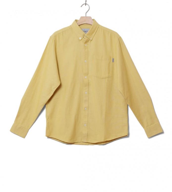 Carhartt WIP Shirt Dalton yellow flour heavy rinsed S