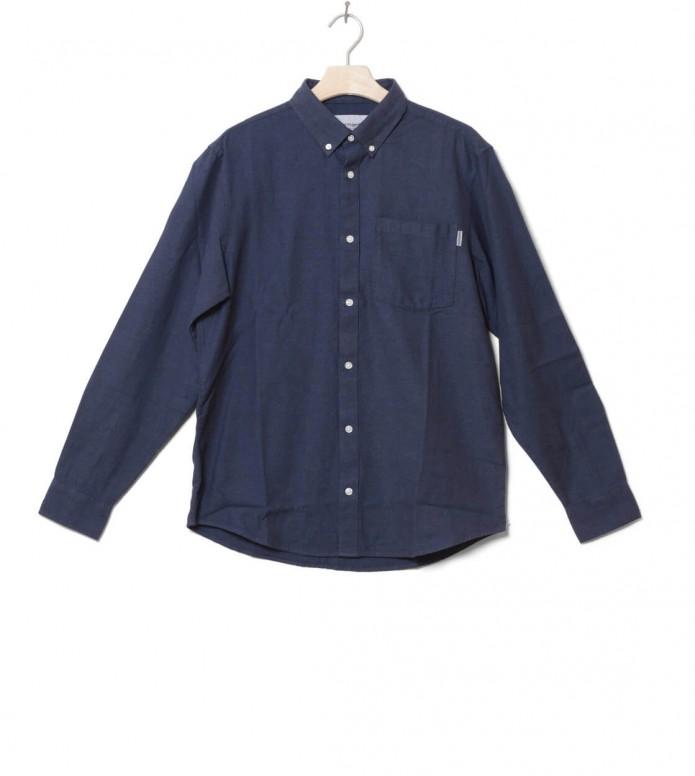 Carhartt WIP Shirt Dalton blue prussian heavy rinsed S