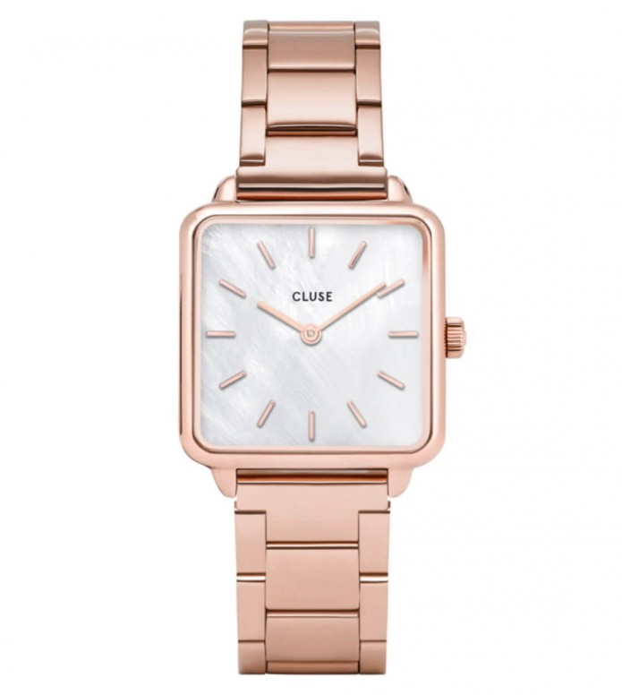 Cluse Cluse Watch La Tetragone 3-Link rose gold/white pearl