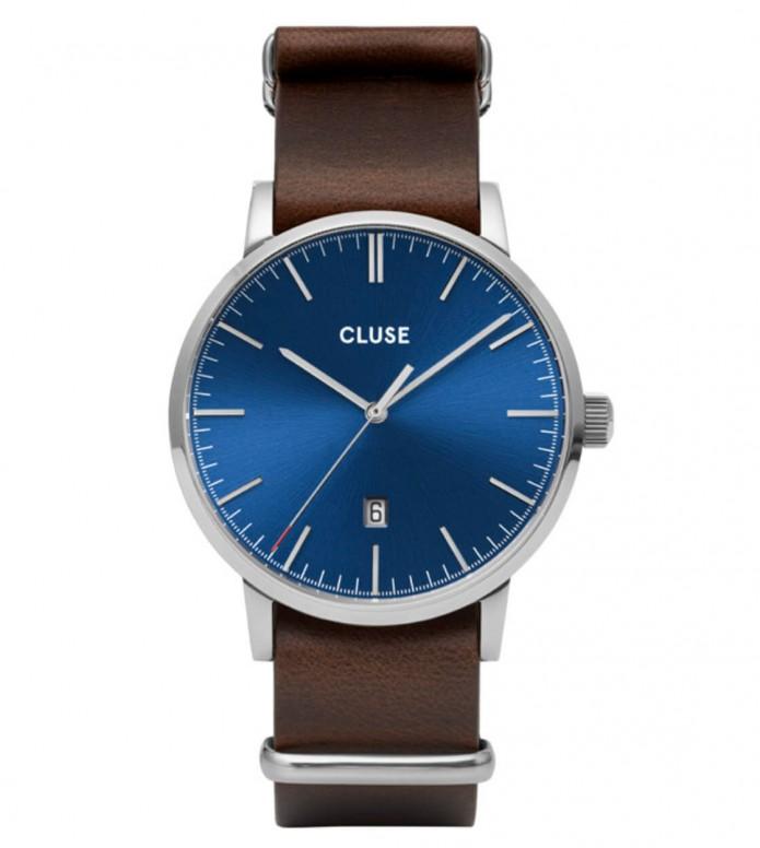 Cluse Cluse Watch Aravis Nato Leather brown dark/dark blue silver