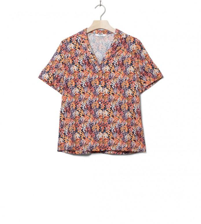 Wemoto W Shirt Scotts Printed orange navy blue-red S