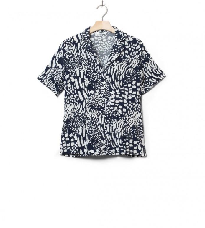 Wemoto W Shirt Scotts Printed blue navy-off white XS