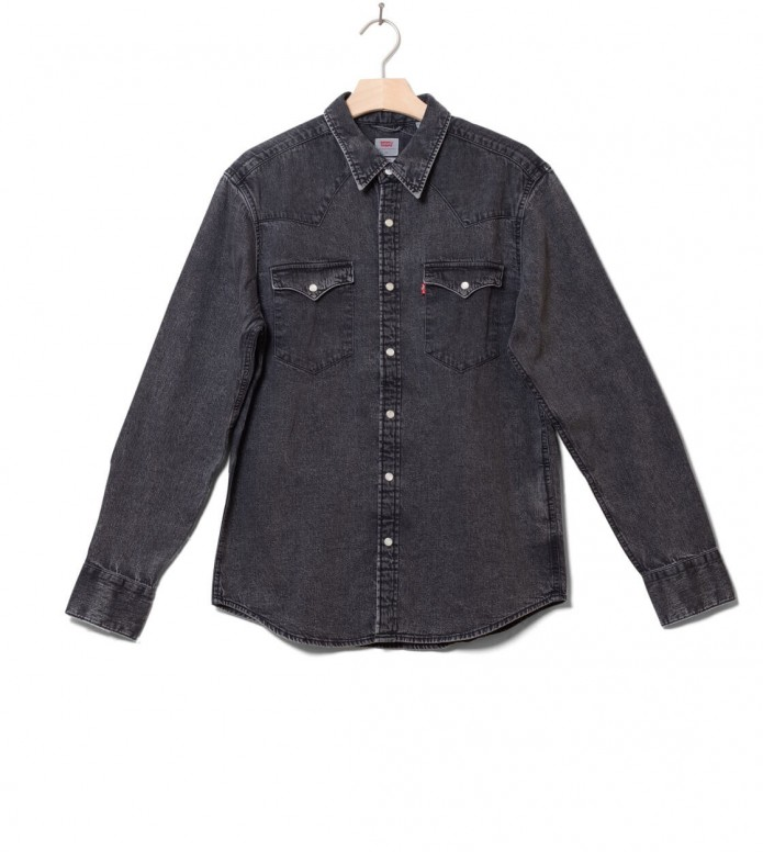Levis Levis Shirt Barstow Western grey marble black acid wash
