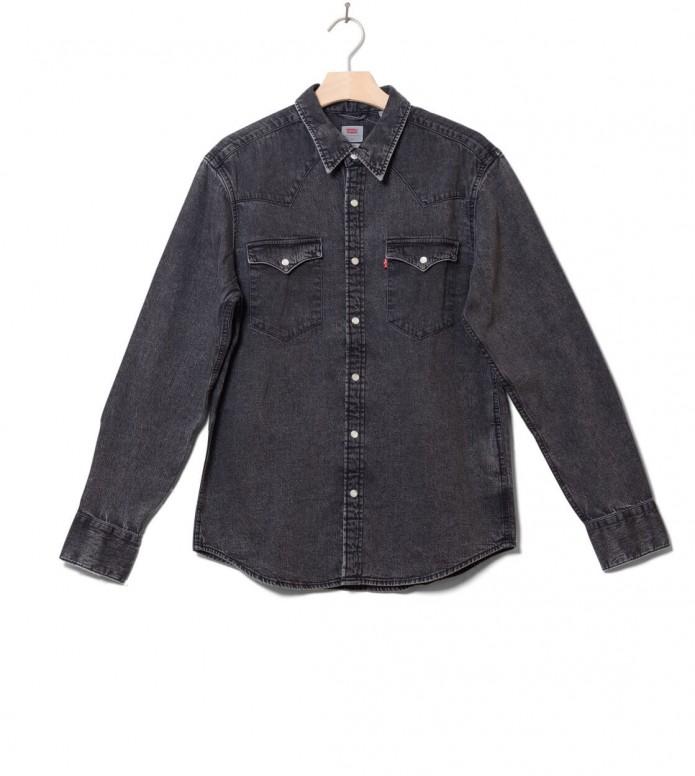 Levis Shirt Barstow Western grey marble black acid wash S
