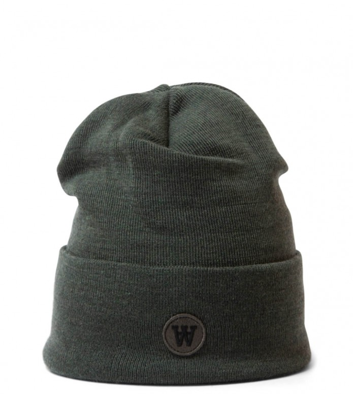 Wood Wood Beanie Gerald AA Tall green army one size