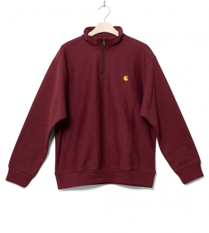 Carhartt WIP Carhartt WIP Half Zip Sweater American Script red bordeaux