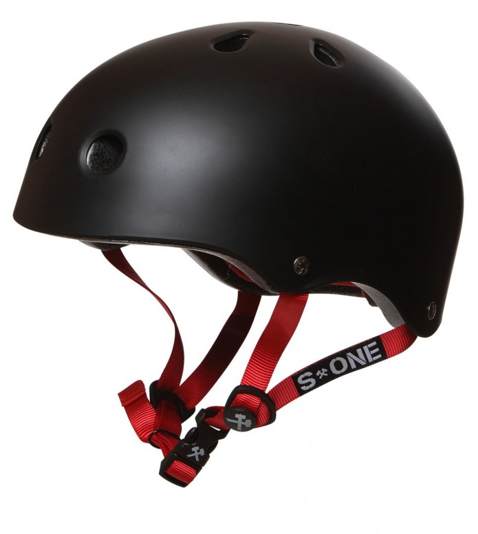 S1 S1 Helmet Lifer black matte red straps