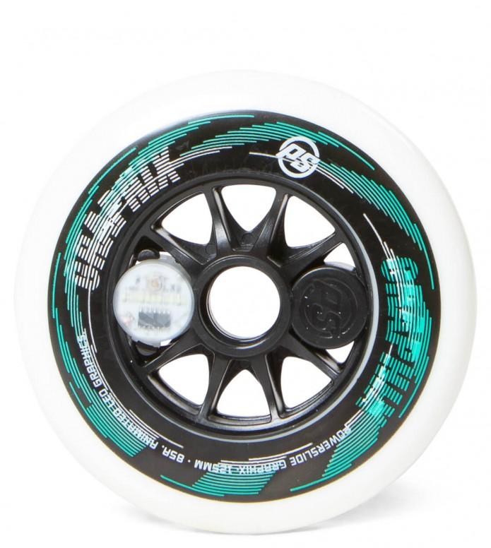 Powerslide Wheel Graphix Left 125er white 125mm