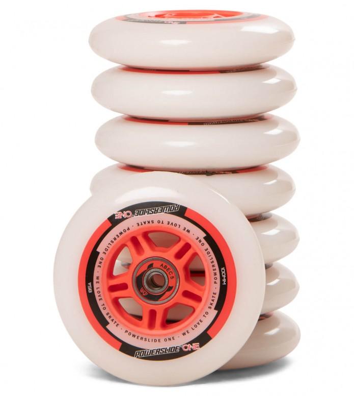Powerslide Wheels One 100er 8-Pack inkl. Kugellager white/red 100mm/82A
