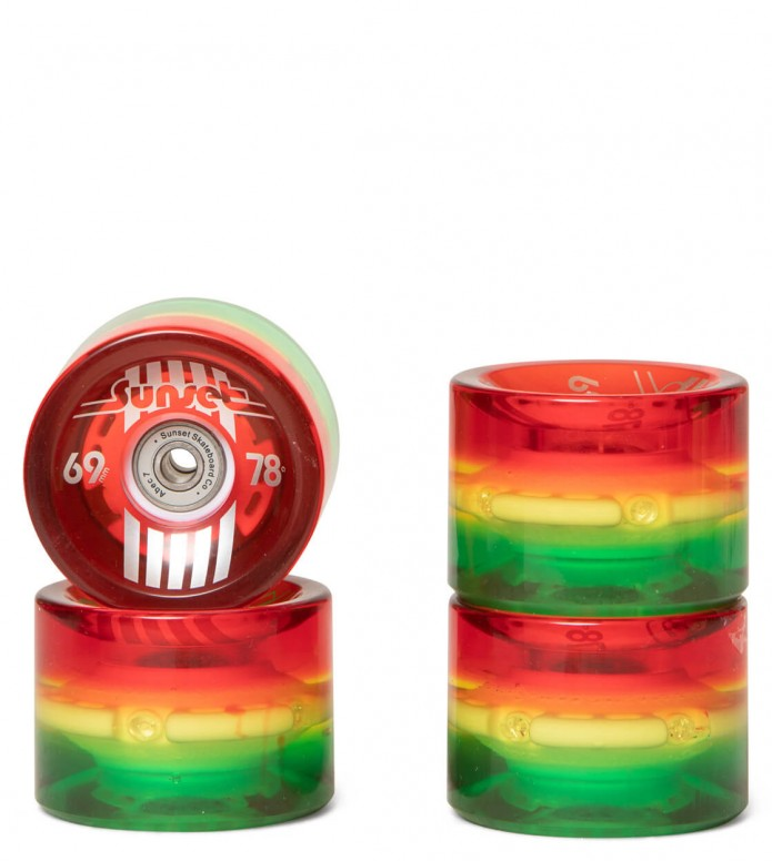 Sunset Wheels Glow Rasta red clear 69mm/78A