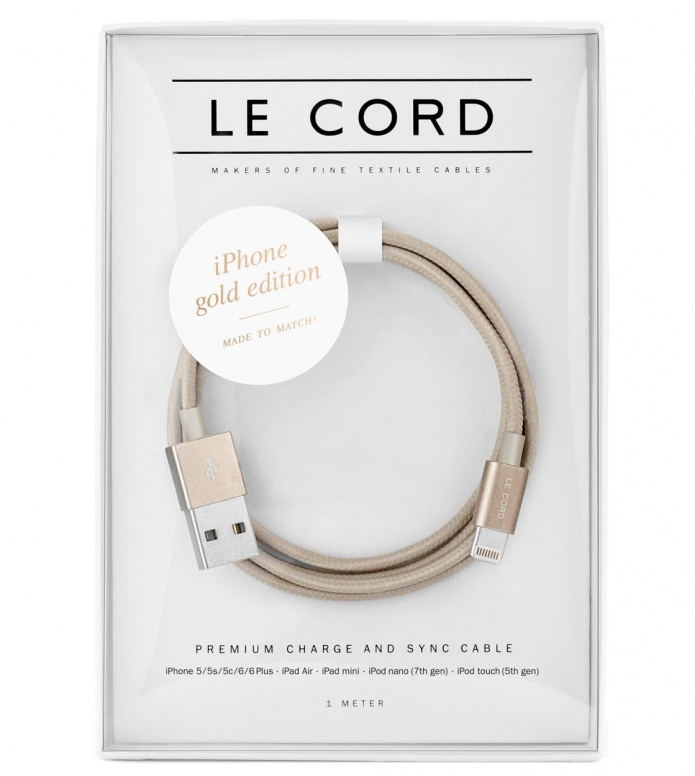 Le Cord Le Cord Charge & Sync Cable gold solid