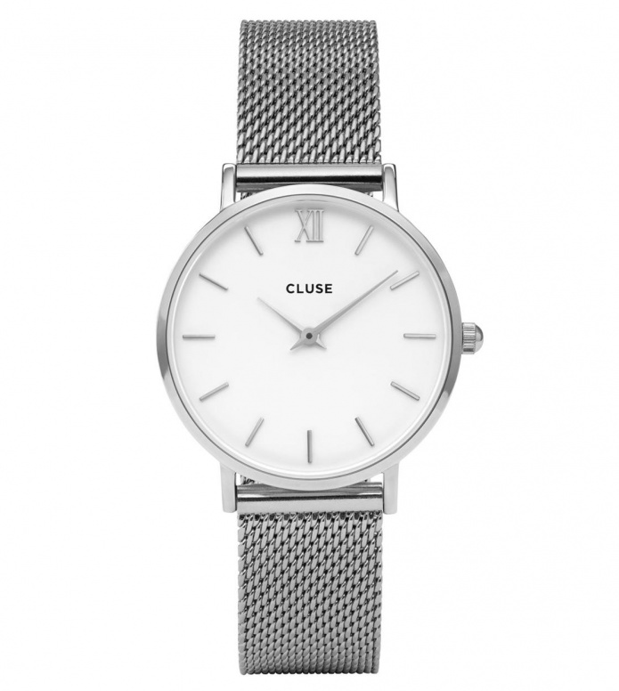 Cluse Cluse Watch Minuit silver/white mesh