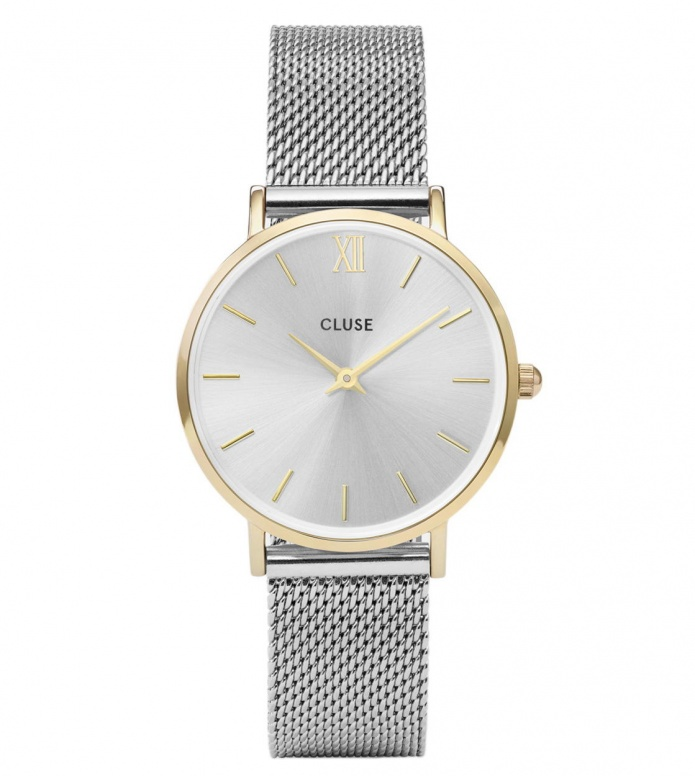 Cluse Cluse Watch Minuit Mesh silver/silver gold