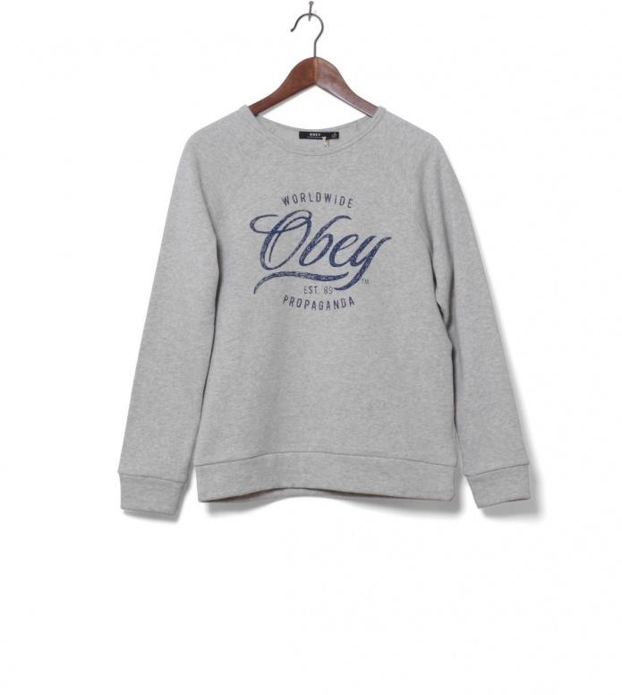 Obey W Pullover Note Script grey ash heather