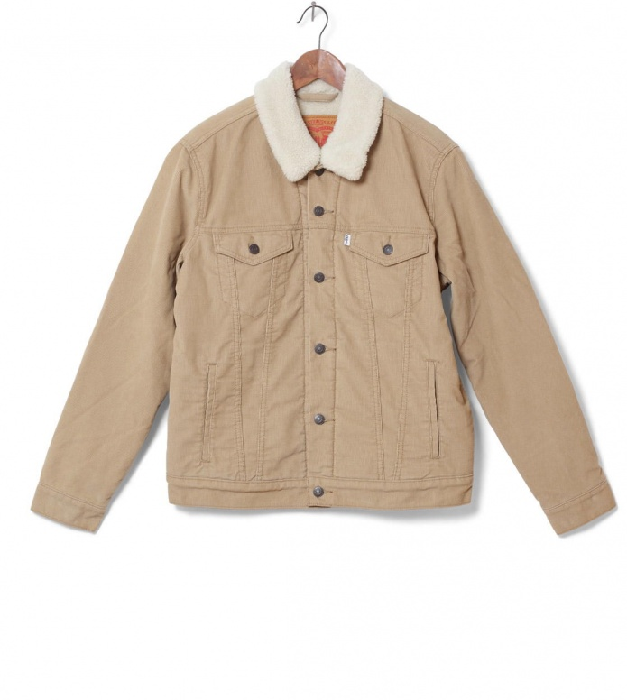 Levis Levis Denimjacket The Trucker Sherpa beige chino sherpa truck
